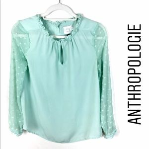 Anthropologie Mint Green Swiss Dot Chiffon Blouse